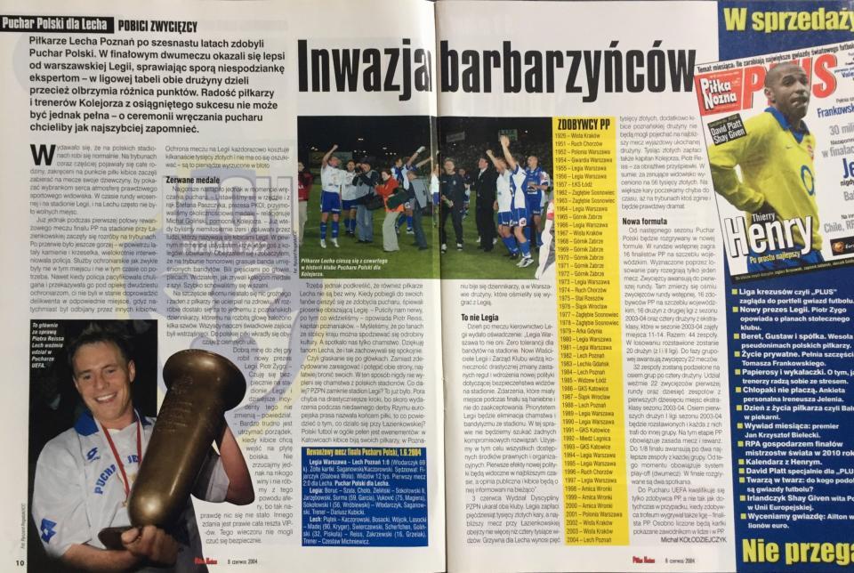 Piłka Nożna po meczu Legia Warszawa - Lech Poznań 1:0 (01.06.2004).