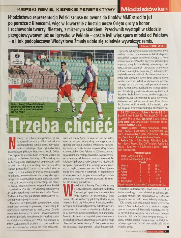 Piłka Nożna po meczu U21 Polska - Austria 2:2 (02.09.2005).