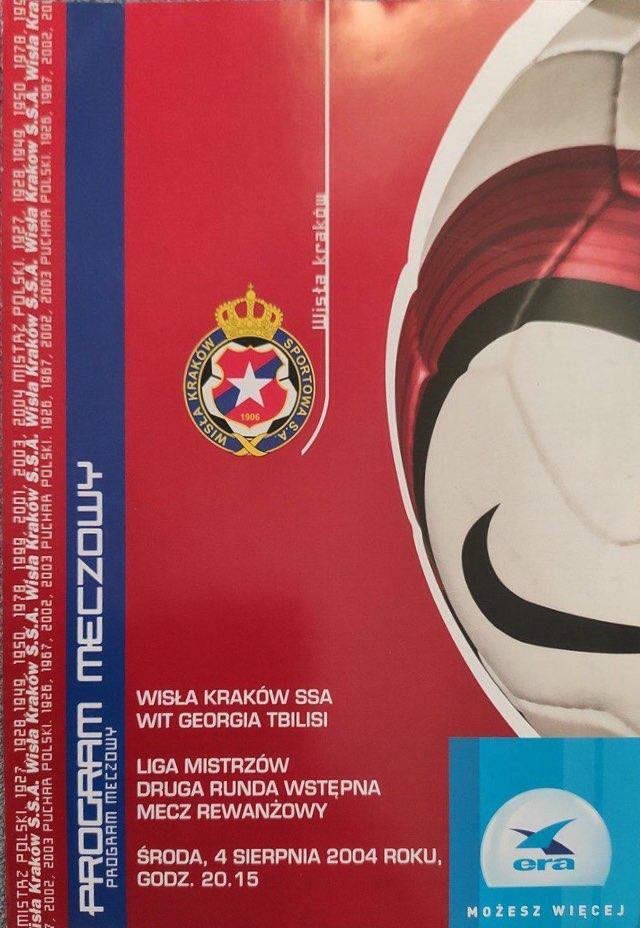 Program meczowy Wisła Kraków - WIT Georgia Tbilisi 3:0 (04.08.2004).