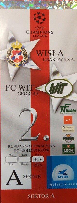Bilet z meczu Wisła Kraków - WIT Georgia Tbilisi 3:0 (04.08.2004).