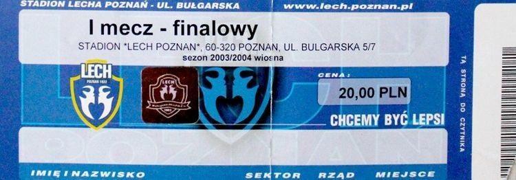 Bilet z meczu Lech Poznań - Legia Warszawa 2:0 (18.05.2004)
