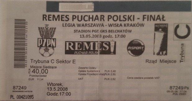 Bilet z meczu Legia Warszawa - Wisła Kraków 0:0, 4-3 (13.05.2008).