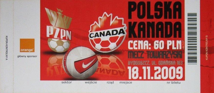 Bilet z meczu Polska – Kanada 1:0 (18.11.2009).