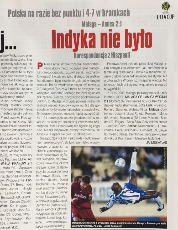 Malaga CF - Amica Wronki 2:1 (31.10.2002) Piłka Nożna