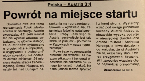piłka nożna po meczu polska - austria (19.05.1994)