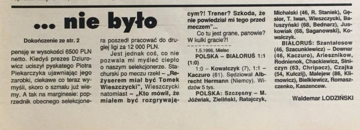 piłka nożna po meczu polska - białoruś (01.05.1996)