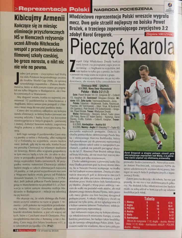 Piłka Nożna po meczu Polska - Walia 3:2 U21 (06.09.2005)
