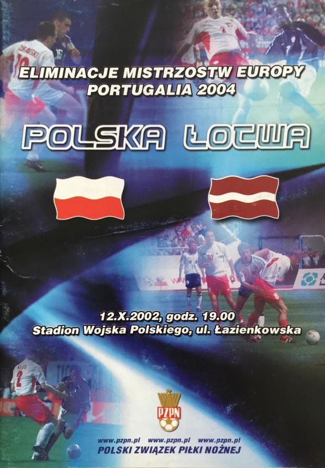 Program meczowy Polska - Łotwa 0:1 (12.10.2002)