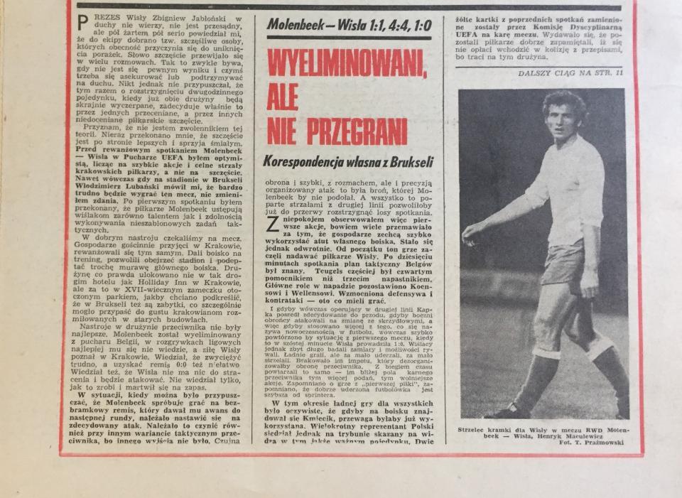 Piłka Nożna po meczu RWD Molenbeek - Wisła Kraków 1:1, k. 5-4 (03.11.1976)