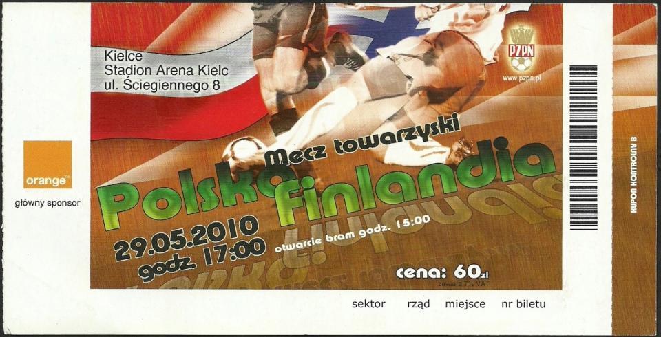 Bilet z meczu Polska - Finlandia 0:0 (29.05.2010).