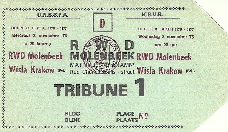 Bilet z meczu RWD Molenbeek - Wisła Kraków 1:1, k. 5-4 (03.11.1976).
