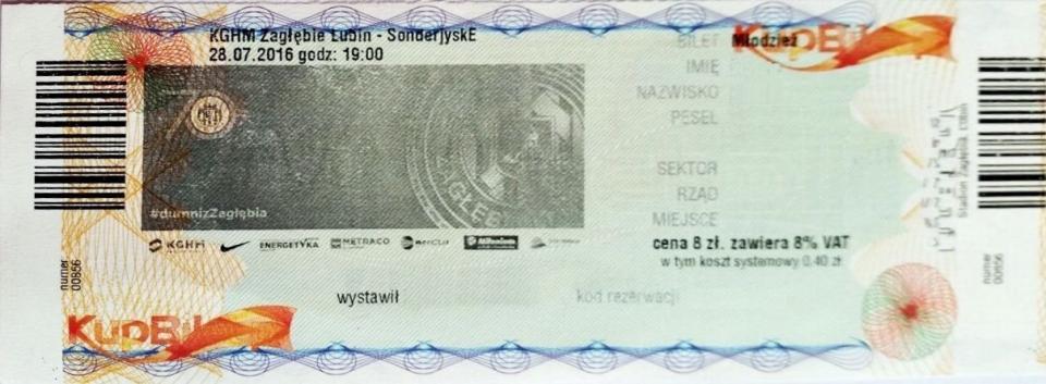 Bilet z meczu Zagłębie Lubin - SønderjyskE 1:2 (28.07.2016).