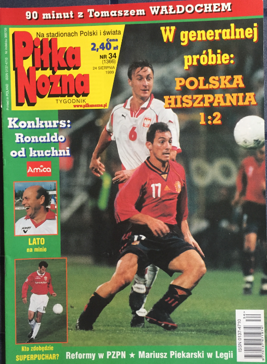 okładka piłki nożnej po meczu polska - hiszpania (18.08.1999)