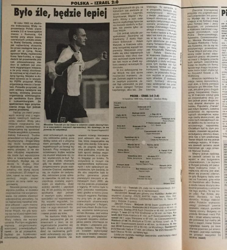 piłka nożna po meczu polska - izrael (18.08.1998)