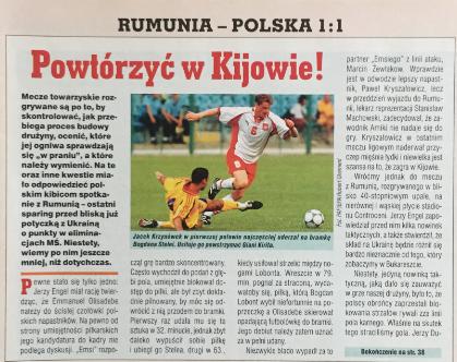 piłka nożna po meczu rumunia - polska (16.08.2000)