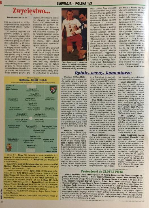 piłka nożna po meczu słowacja - Polska (10.11.1998)