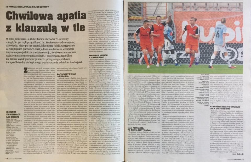 Piłka Nożna po meczu Zagłębie Lubin - SønderjyskE 1:2 (28.07.2016).