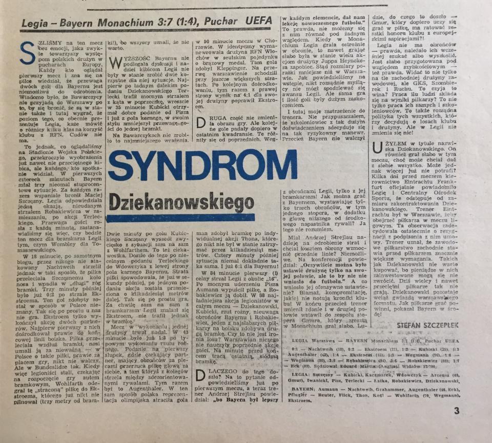 Piłka Nożna po meczu Legia Warszawa - Bayern Monachium 3:7 (05.10.1988).