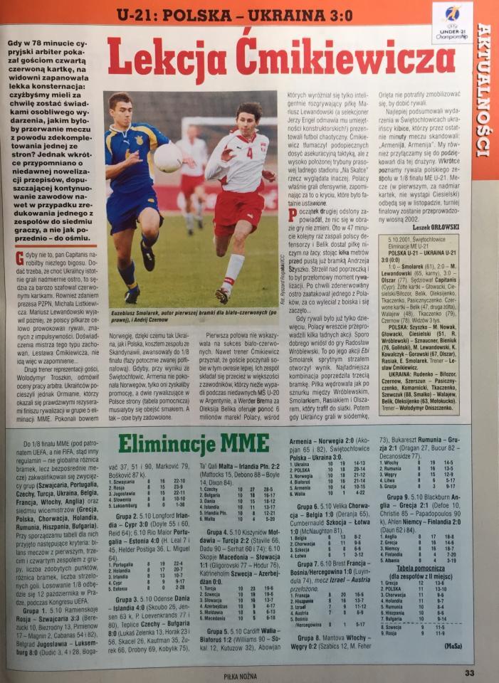 Polska - Ukraina 3:0 (05.10.2001)