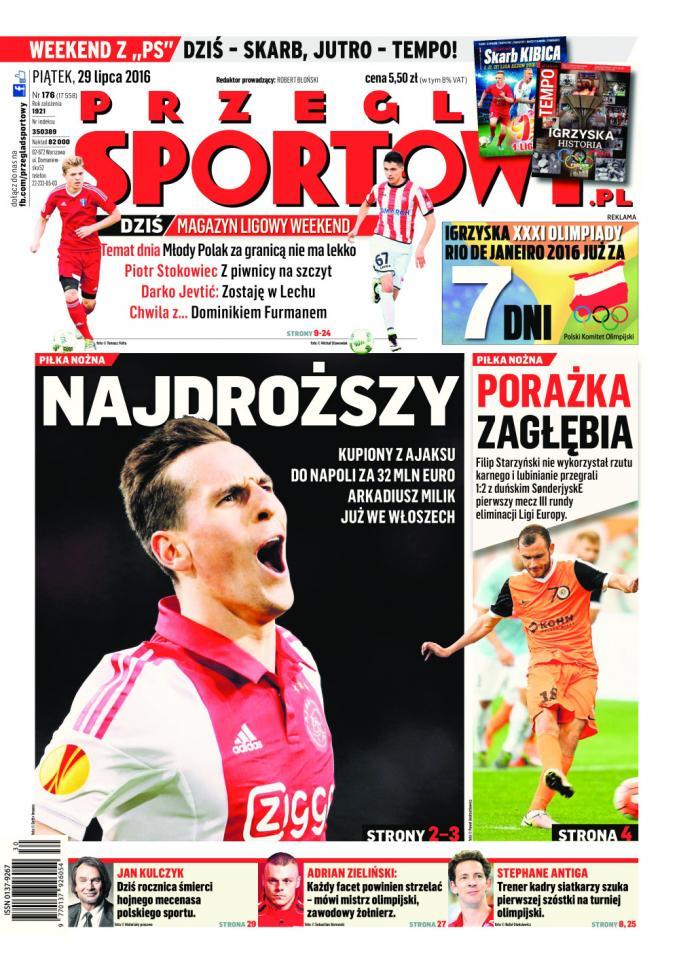 Okładka Przegląd Sportowy po meczu Zagłębie Lubin - SønderjyskE 1:2 (28.07.2016).