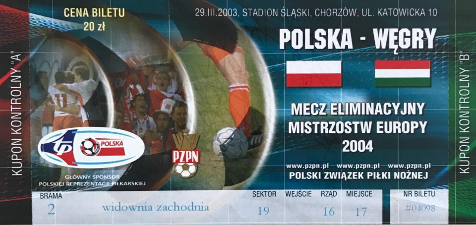 Bilet z meczu Polska - Węgry 0:0 (29.03.2003).