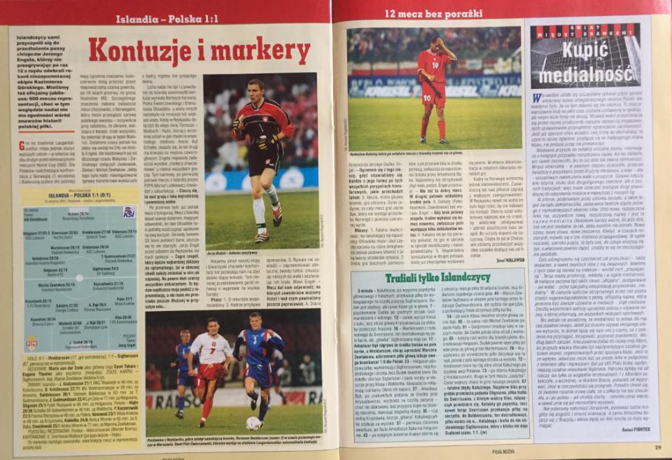 piłka nożna po meczu islandia - polska (15.08.2001)