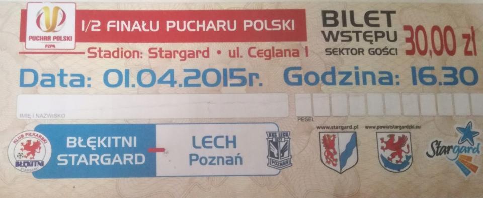 Błękitni Stargard Szczeciński - Lech Poznań 3:1 (01.04.2015)