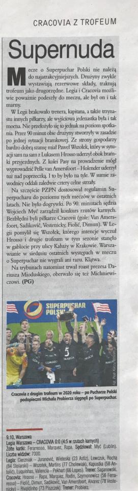 Piłka Nożna po meczu Legia Warszawa - Cracovia 0:0, k. 4-5 (09.10.2020)