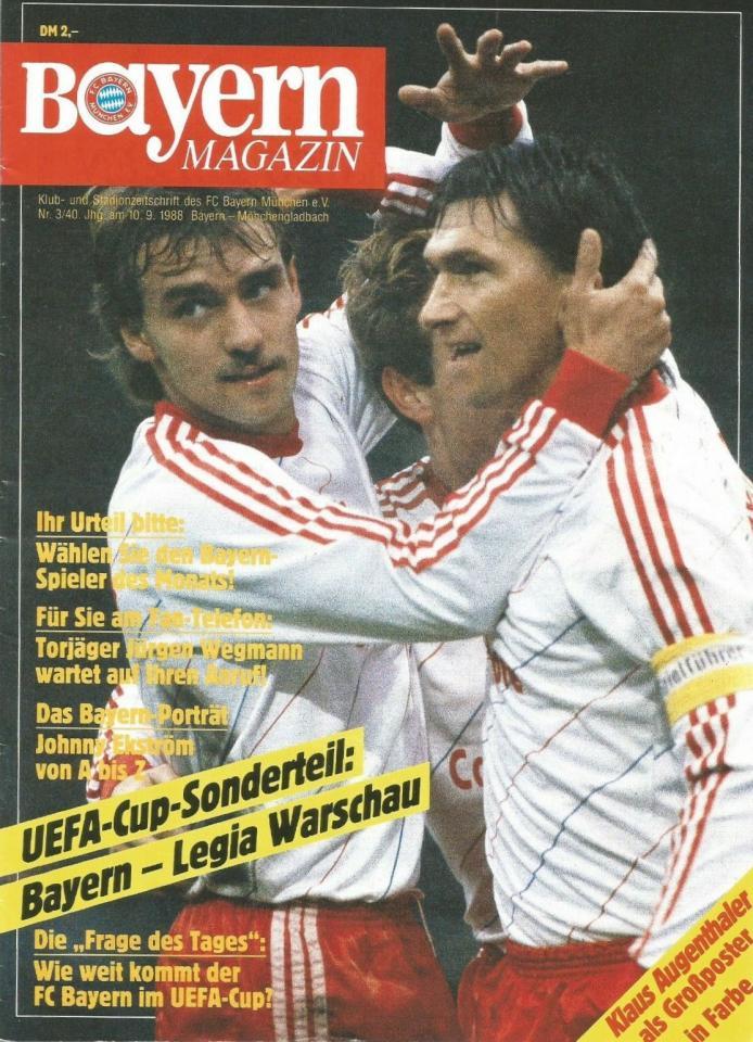 Program meczowy Bayern Monachium - Legia Warszawa 3:1 (07.09.1988).
