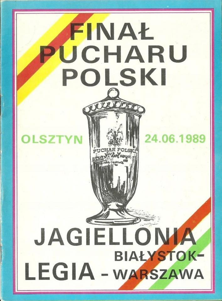 Program meczowy Legia Warszawa - Jagiellonia Białystok 5:2 (24.06.1989).