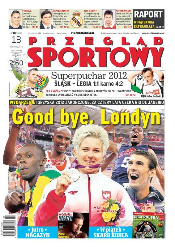 Okładka Przegląd Sportowy po meczu Śląsk Wrocław - Legia Warszawa 1:1, k. 4-2 (12.08.2012).