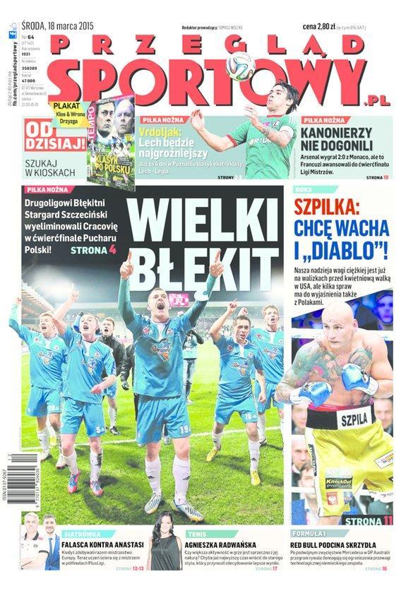 Przegląd Sportowy po Cracovia - Błękitni Stargard Szczeciński 0:2 (17.03.2015)