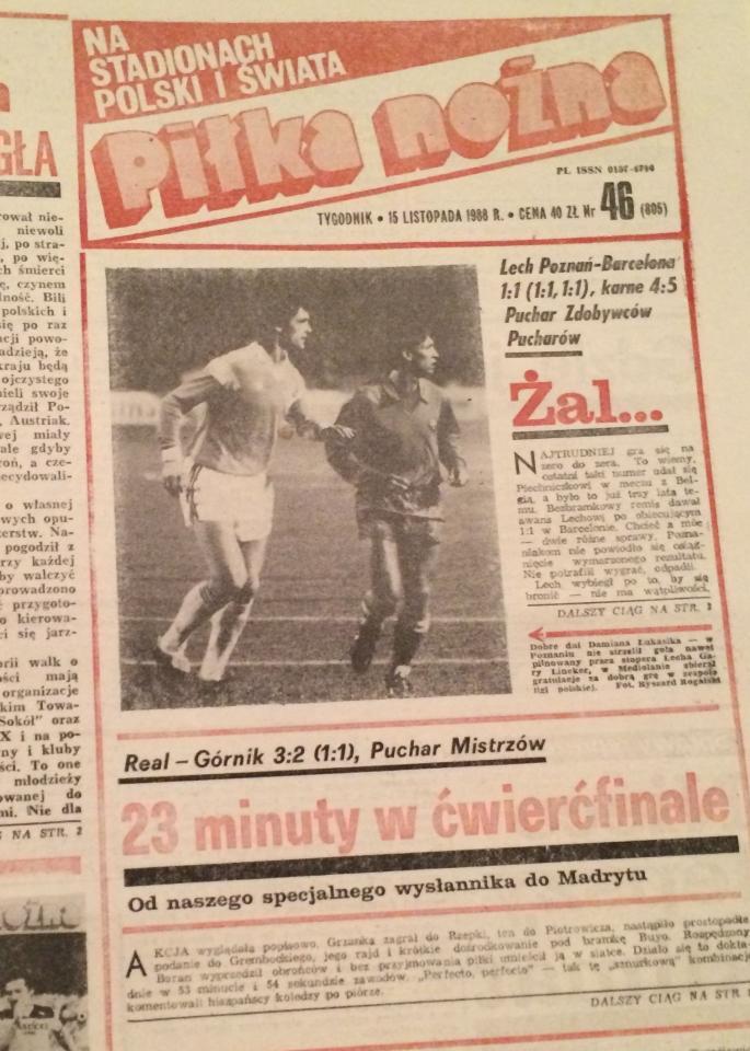 Piłka Nożna po Real Madryt - Górnik Zabrze 3:2 (10.11.1988) 1