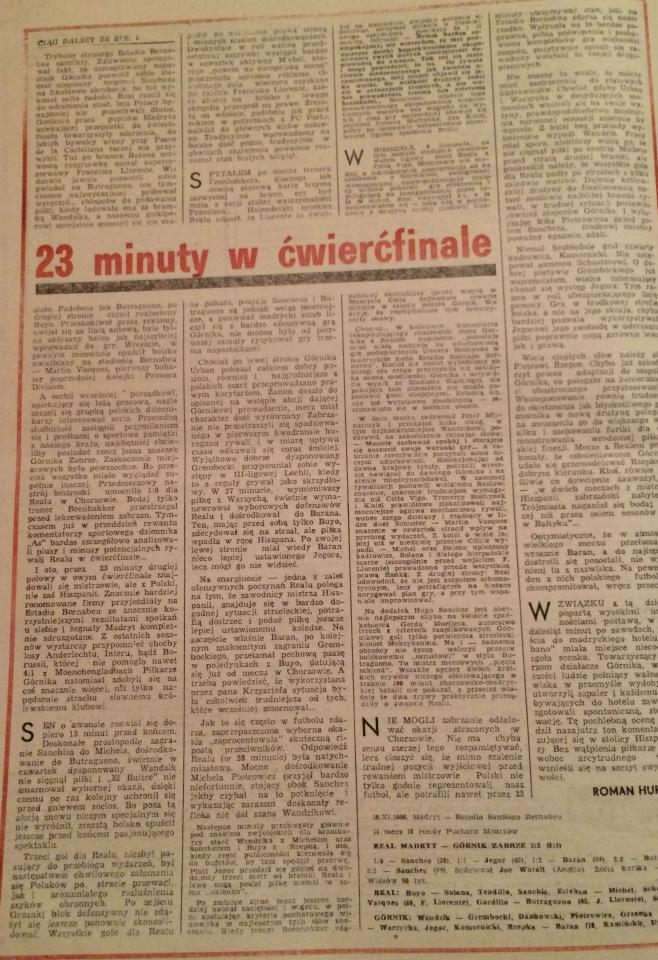 Piłka Nożna po Real Madryt - Górnik Zabrze 3:2 (10.11.1988) 2