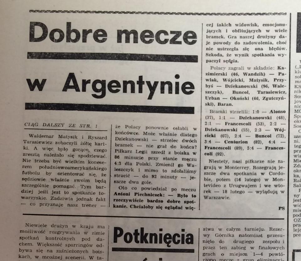 Piłka Nożna po River Plate Buenos Aires - Kadra PZPN 5:4 (08.02.1986) 2