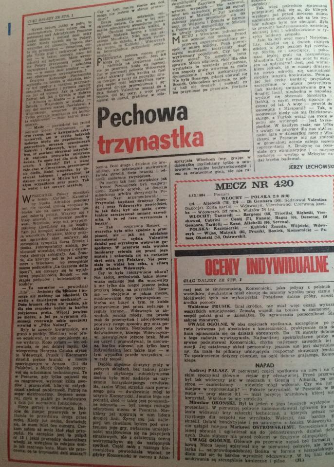 Piłka Nożna po Włochy - Polska 2:0 (08.12.1984) 2
