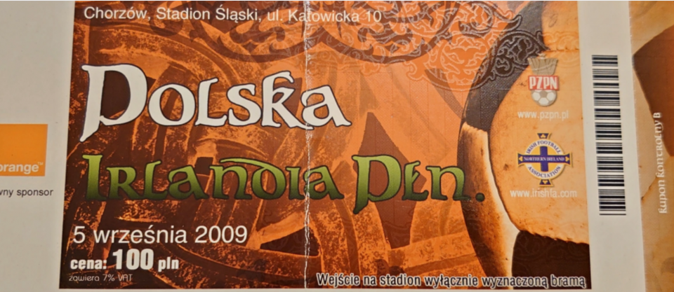 bilet z meczu polska - irlandia północna (05.09.2009)