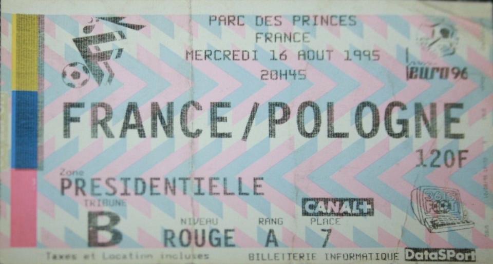 Bilet z meczu Francja - Polska 1:1 (16.08.1995).