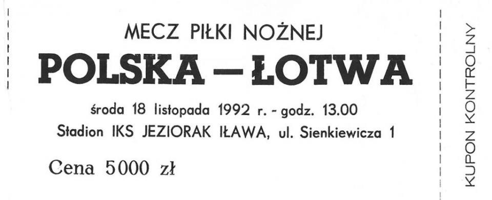 Bilet z meczu Polska - Łotwa 1:0 (18.11.1992).