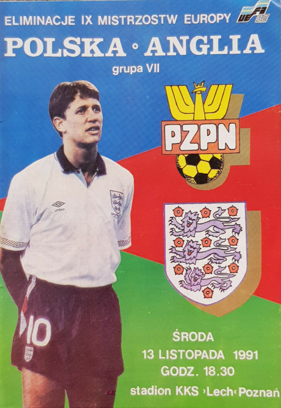 program meczowy polska - anglia (13.11.1991)