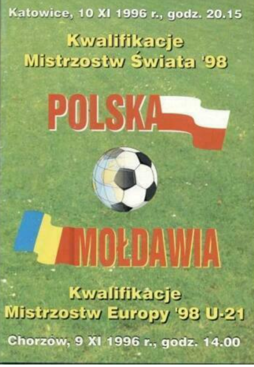 program meczowy polska - mołdawia (10.11.1996)