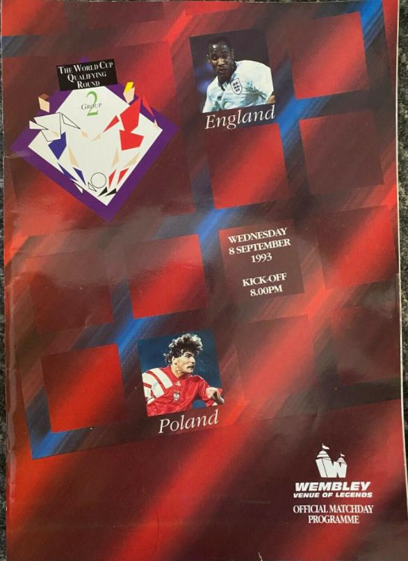 program z meczu anglia - polska (08.09.1993)