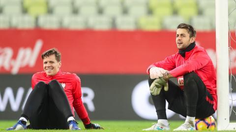 Wojciech Szczęsny i Łukasz Fabiański na treningu reprezentacji Polski.