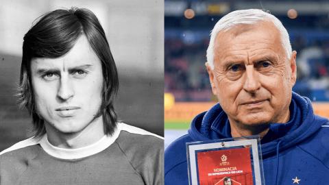 Kazimierz Kmiecik z roku 1974 i 2019.