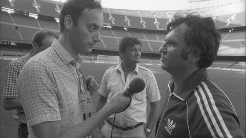 Dariusz Szpakowski, Hubert kostka i Antoni Piechniczek na treningu przed mundialowym meczem z Belgią (1982)