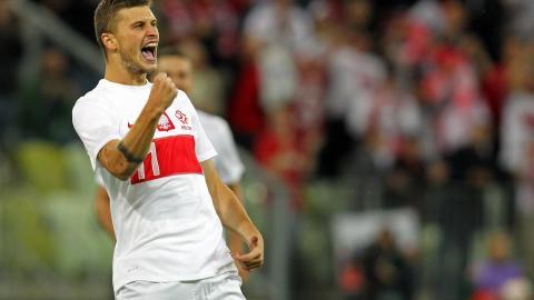 Mateusz Klich po strzeleniu gola w meczu z Danią (14.08.2013).