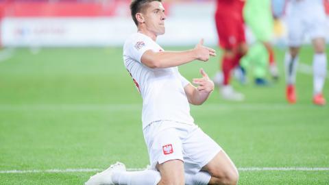 Krzysztof Piątek po zdobyciu bramki dla reprezentacji Polski w meczu z Portugalią (11.10.2018).