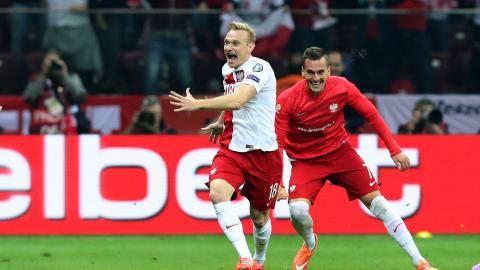Sebastian Mila i Arkadiusz Milik podczas meczu Polska - Niemcy 2:0 (11.10.2014).