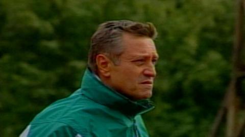 Dušan Radolský podczas meczu Atlantas Kłajpeda - Groclin Dyskobolia Grodzisk Wlkp. 1:4 (27.08.2003)