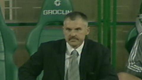 Vasys Lekevieius podczas meczu Groclin Dyskobolia Grodzisk Wlkp. - Atlantas Kłajpeda 2:0 (14.08.2003)